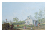 Colonial Children Playing Outside the House in the Reunion Island, 1793 Giclee Print