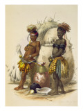 Dabiyaki and Upapazi, Zulu Boys in Dancing Dress, plate 17 from 'The Kafirs Illustrated', 1849