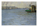 Sunday Atmosphere on the Elbe, St. Paul Landing Bridge, 1901 Giclee Print