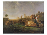 A Distant View of Dordrecht with Sleeping Herdsman and Five Cows