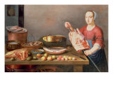 A Still Life of Meat and Fish with a Cook
