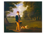 Young Man with a Cricket Bat Walking a Spaniel in the Grounds of Eton College