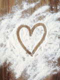Heart Shape in Flour Photographic Print