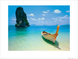 Tropical Beach with Long Tail Boat, Phuket, Thailand