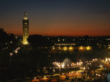 Koutoubiya Mosque and Marrakech at Night