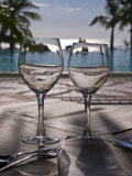 Wine Glasses in Front of the Pool of the Beachcomber Le Paradis, Mauritius, Indian Ocean, Africa
