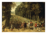 Louis XIII with a Hunting Party in the Forest at Marly