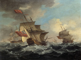 A British Man of War in a Strong Breeze with East Indiamen in the Distance