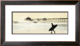 Surfer at Huntington Beach Framed Art Print