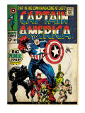 Marvel Comics Retro: Captain America Comic Book Cover #100, with Black Panther, Thor, Namor (aged)