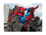 Spider-Man Swinging In the City Art Print