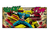 Marvel Comics Retro: Captain America Comic Panel, Fighting, Phase 1, So Far So Good! (aged) Art Print