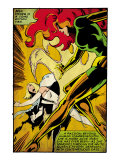 Marvel Comics Retro: X-Men Comic Panel, Phoenix, Emma Frost, Fighting (aged)