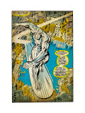 Marvel Comics Retro: Silver Surfer Comic Panel, Over the City (aged)