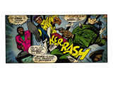 Marvel Comics Retro: Luke Cage, Hero for Hire Comic Panel, Kicking and Fighting (aged)