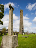 Round Tower and High Cross, St Brigid's Ci Cathedral, Kildare Town, Co Kildare, Ireland