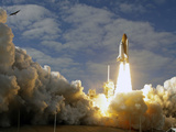 Space Shuttle Atlantis Lifts Off at the Kennedy Space Center in Cape Canaveral, Florida