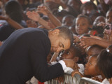 President Barack Obama Visits the Dr. Martin Luther King Charter School of New Orleans, Louisiana Photographic Print