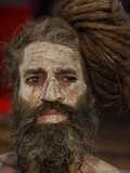 Hindu Holy Man Looks on from the Banks of River Ganges During the Kumbh Mela Festival in Haridwar