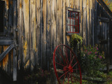 Wheel Besides Barn, Drury Place, Weston, Vermont, USA