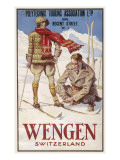 Holiday Poster for Wengen in Switzerland Showing a Couple Skiing