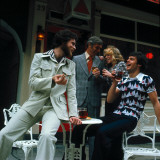 Retro Social Scene Outside Pub in London 1970s, Gathering, Drinking, Relaxing, Public House