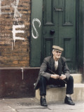 Elderly Man Sits on Street Step - Manchester 1965