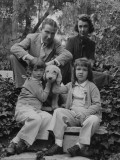 Writer Ogden Nash with His Wife and Daughters and their Pet Terrier