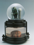 Close-Up of a Figurine of Frankenstein in a Snow Globe
