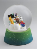 Close-Up of a Snowman and a Mouse in a Snow Globe