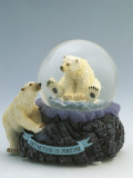 Close-Up of a Figurine of a Polar Bear in a Snow Globe