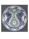 Plate with Green Scales and Blue Florets Attenuated