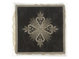 Starched Doily Blade Silver Embroidered Damask Black