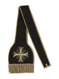Stole Black Velvet Embroidered with Gold and Silver