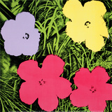 Flowers, c.1970 (1 purple, 1 yellow, 2 pink) Art Print
