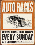 Vintage Auto Races Tin Sign
