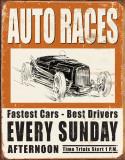 Vintage Auto Races Tin Sign