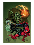 Marvel Knights Spider-Man V3, No.10 Cover: Black Cat, Spider-Man and Green Goblin Crouching