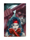 Ultimate Elektra #2 Cover: Elektra and Daredevil Fighting