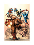 Marvel Two-In-One No.7 Cover: Juggernaut, Wolverine, Captain America, Spider-Man and Iron Man