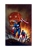 Captain America #8 Cover: Captain America, Bucky and Red Skull Swimming