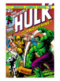 Marvel Comics Retro: The Incredible Hulk Comic Book Cover #181, with Wolverine and the Wendigo
