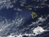 Satellite View of Volcanic Fog from Kilauea Volcano Swirling around the Hawaiian Islands