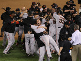 Texas Rangers v. San Francisco Giants, Game 5:  San Francisco Giants celebrate their 3-1 victory