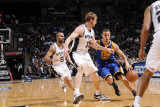 Golden State Warriors v San Antonio Spurs: Stephen Curry and Matt Bonner Photographic Print
