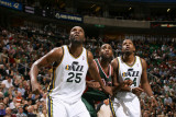 Milwaukee Bucks v Utah Jazz: Al Jefferson, C.J. Miles and Luc Mbah a Moute