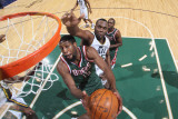 Milwaukee Bucks v Utah Jazz: Al Jefferson and John Salmons
