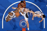 Cleveland Cavaliers v Orlando Magic: Leon Powe, Marcin Gortat and Quentin Richardson