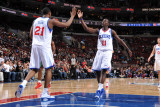 Milwaukee Bucks v Philadelphia 76ers: Thaddeus Young and Jrue Holiday