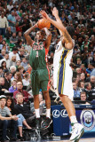 Milwaukee Bucks v Utah Jazz: Brandon Jennings and Deron Williams